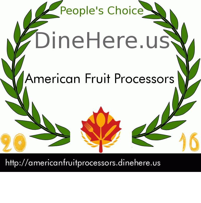 American Fruit Processors DineHere.us 2016 Award Winner